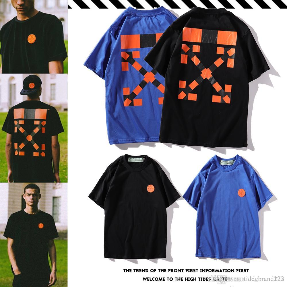 Off White Hot Round Neck Cotton Casual T Shirt Super Fire Drop Gel Badge Spider Pattern Arrow Printing Men And Women Couple T Shirt
