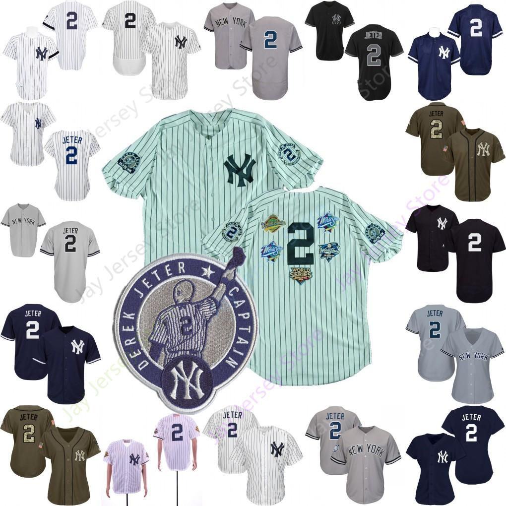 best sneakers 3e91c 1a7c7 Derek Jeter Jersey Men Women Youth With Retirement Patch Yankees 1995  Cooperstown White pinstripe World Series WS Home Away