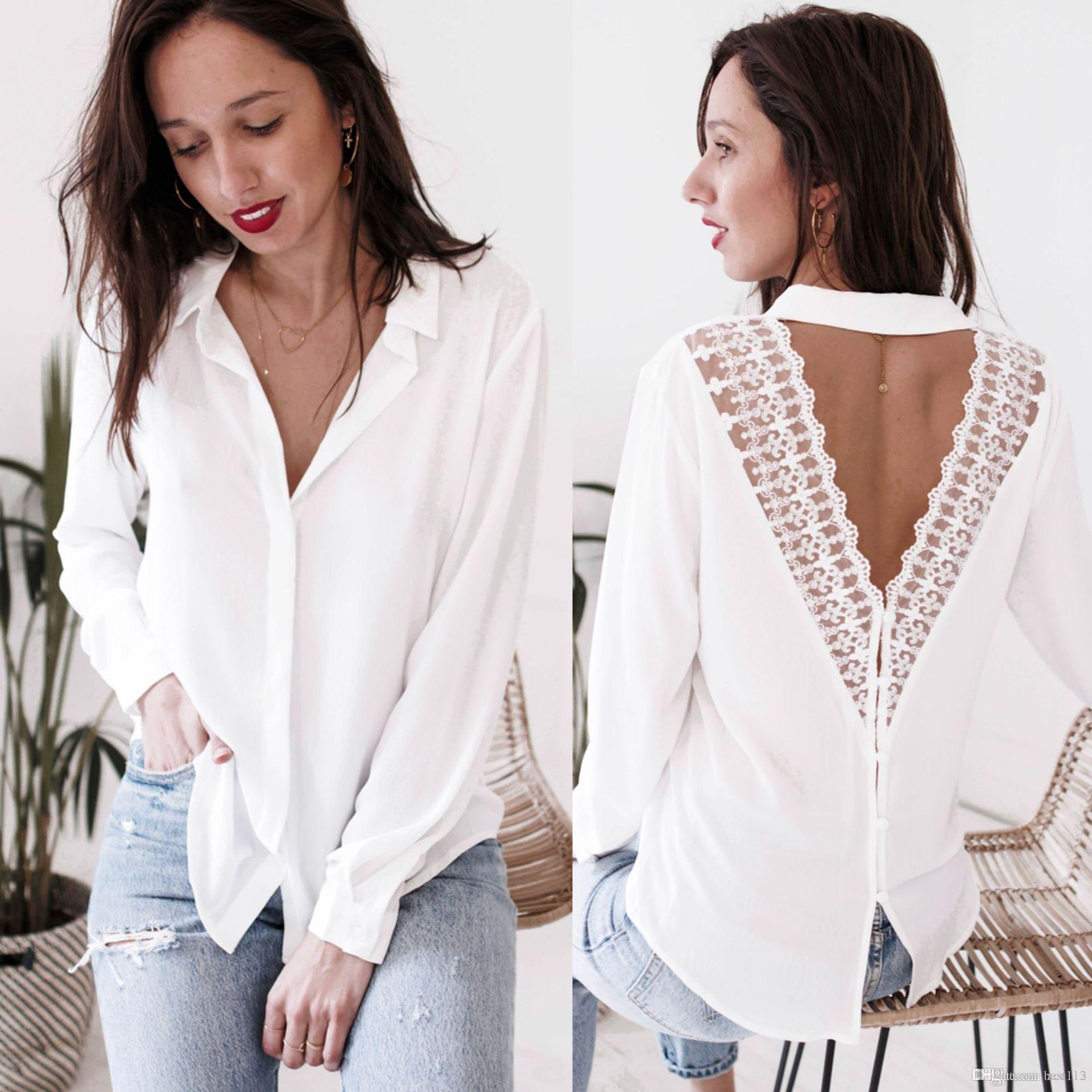 1224a0608b7 Fashion Womens Lace Tops And Blouses Office Lady OL Long Sleeve V ...