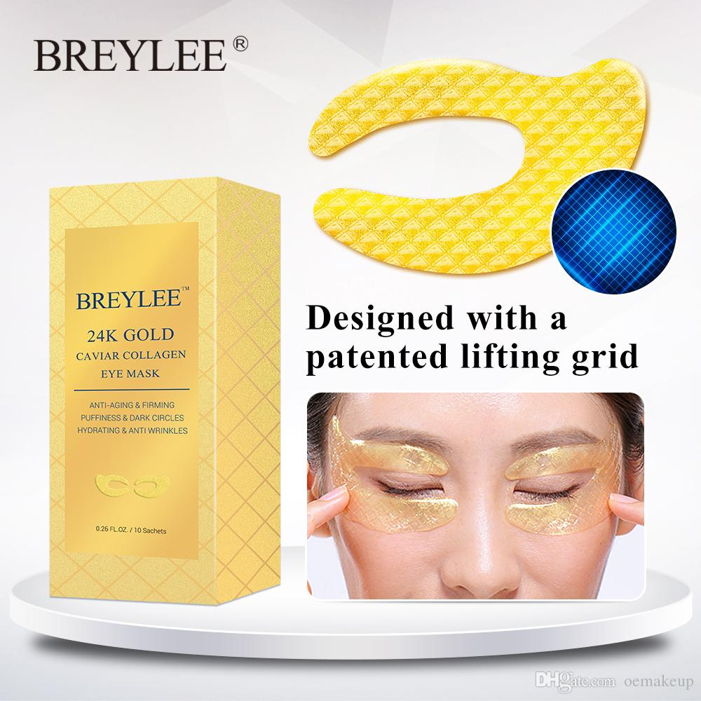 BREYLEE 24K Gold Eye Mask Caviar Collagen Essence New Style Eye Patch Sheet Mask Eye Skin Care 10pairs