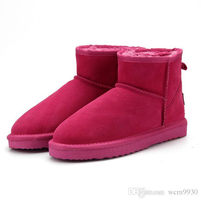 4e1f15e5 Compre Botas Para La Nieve De Australia Mujer 100% Botines De Cuero Genuino  De Piel De Vaca Botas De Invierno Cálido Zapatos De Mujer De Gran Tamaño 34  44 A ...