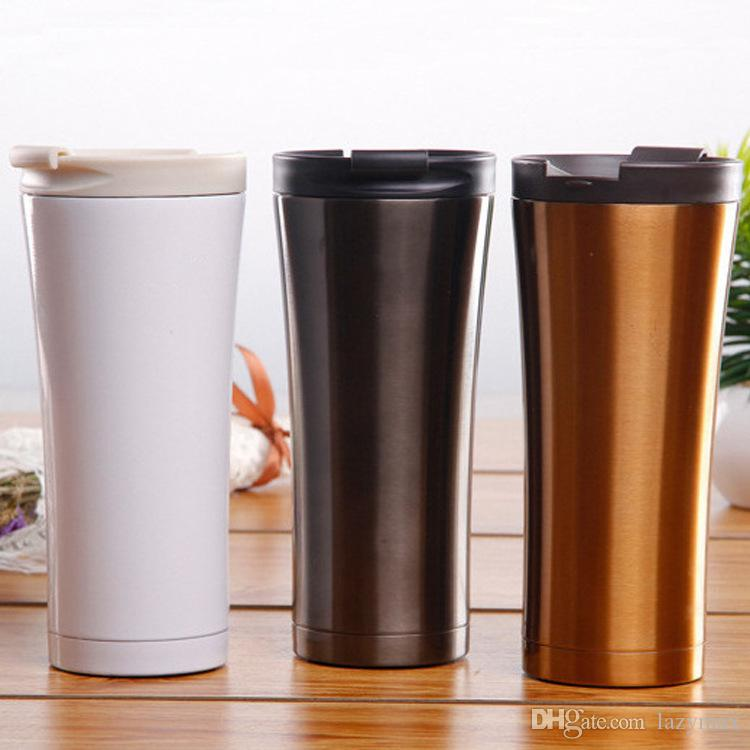 500ML Stainless Steel Coffee Bottle 3 Colors Double Wall Vacuum Mug Portable Travel Car Cup Home Office Drinkware Tools 20 Pieces DHL