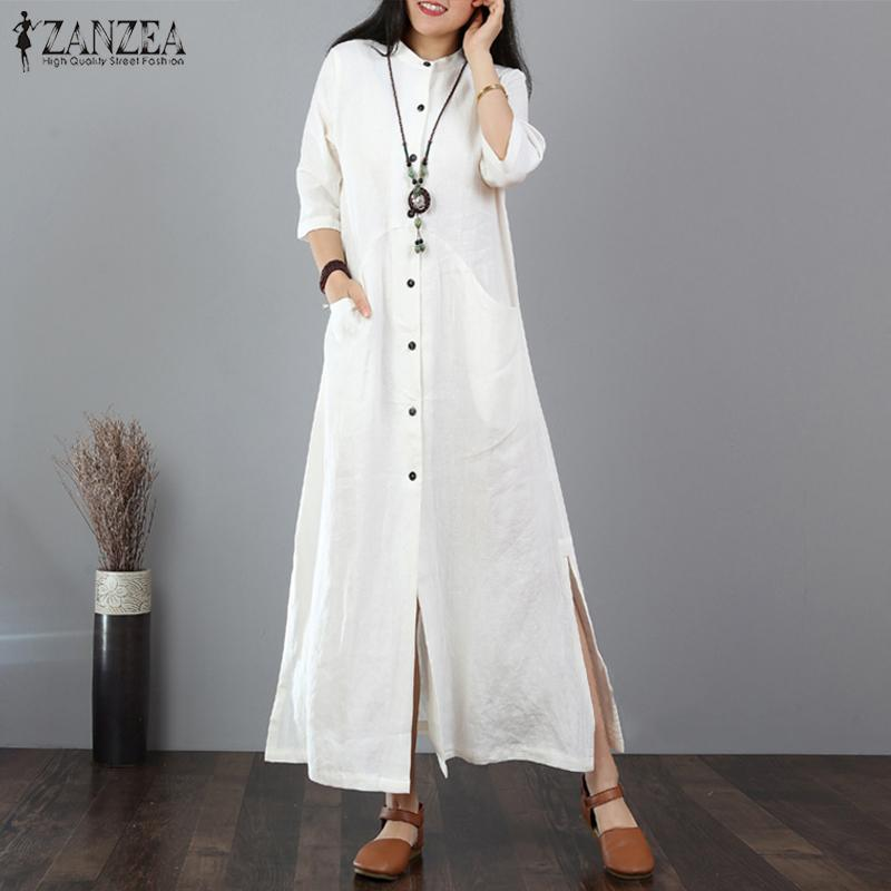 d3ee939b05f 2019 ZANZEA Women Long Maxi Dress Mandarin Collar Long Shirt Dresses Long  Sleeve Cotton Linen Vestido Kaftan Button Up Robe Plus Size Y19042401 From  Huang03 ...