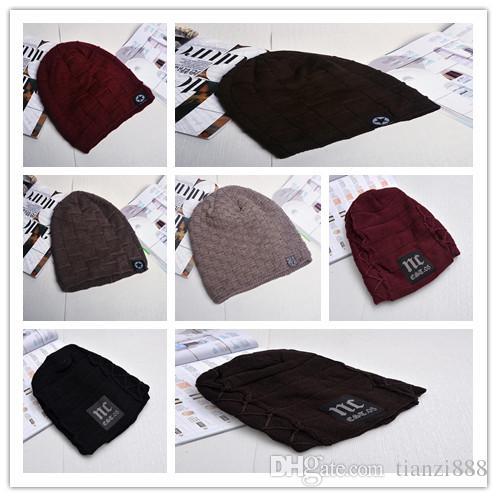 de3bfa87c37de New Men s Hat Pentagon Creative Sticker Bear Head Wool Cap Winter ...