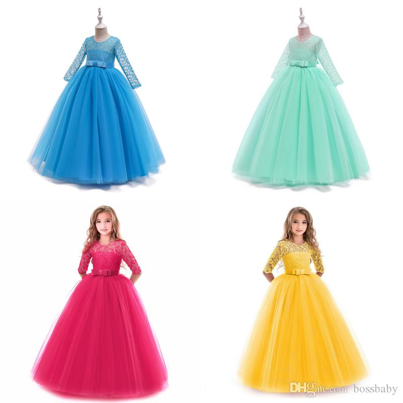 Girls Gown Princess Dress 17 Design Solid Mesh Prom Dresses Kids Designer Clothes Girls Wedding Flower Girl Skirt Bow Lace Party Dresses 06