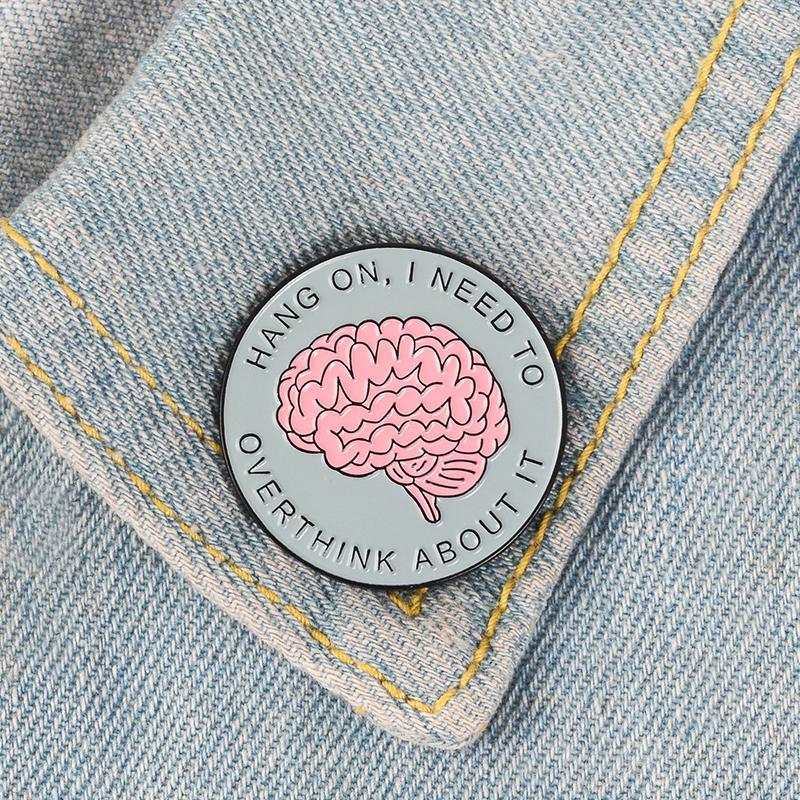 Round Brain Lapel Pins Badges Funny Saying Brooches Women Men Unisex ... fd046e80ea9c