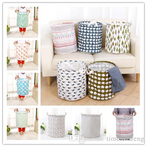 Large size storage bucket 28 designs folding storage baskets kids room toys clothing storage bags cotton and linen clothing laundry bag