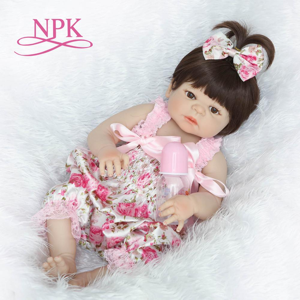 NPK 55cm full body Silicone reborn Baby Doll Girl Newbron Lifelike Baby-Reborn Princess Doll Birthday Christmas Gift for girl Y191211