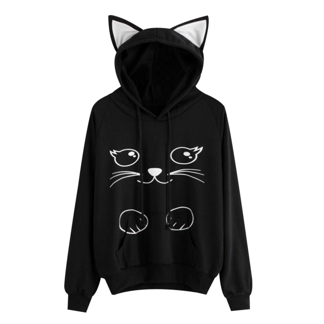 Harajuku Cat Print Hoodies Women Cat Ear Cartoon Hooded Sweatshirt Kawaii Lovely Ladies Long Sleeve Pullover Tops Sudadera Mujer