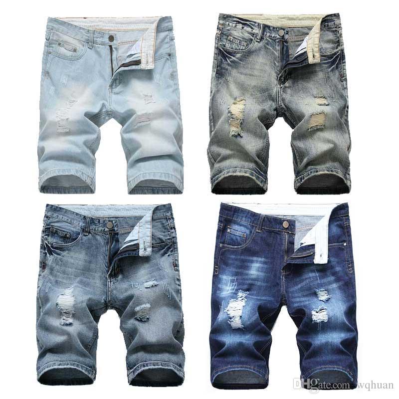 0e44edba68 Compre 2019 Hombres Pantalones Cortos Pantalones Vaqueros Biker Pantalones  Cortos Distressed Flaco Agujeros Rasgados Pantalones Cortos De Mezclilla De  Los ...