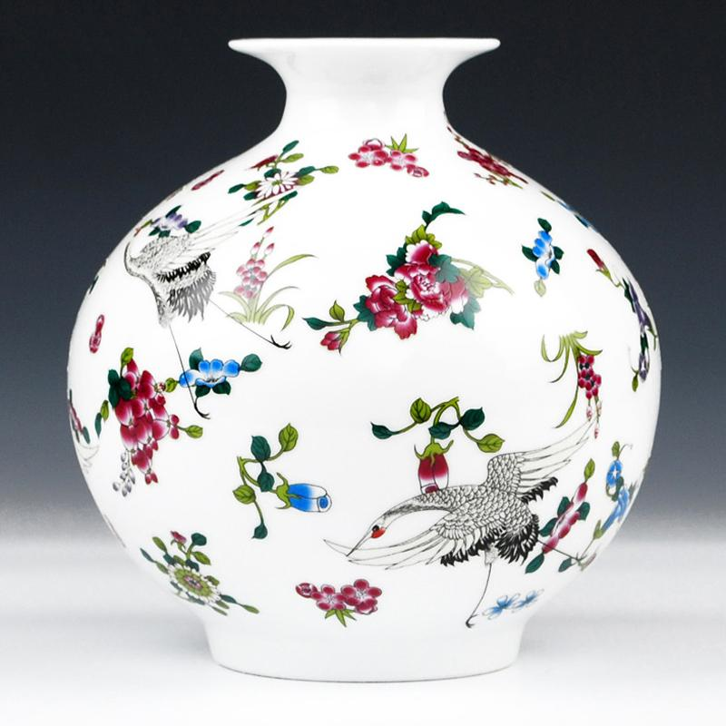 Antique Jingdezhen Luminous Vase With Flowers And Bird Patterns Ceramic Table Vase Porcelain Decorative