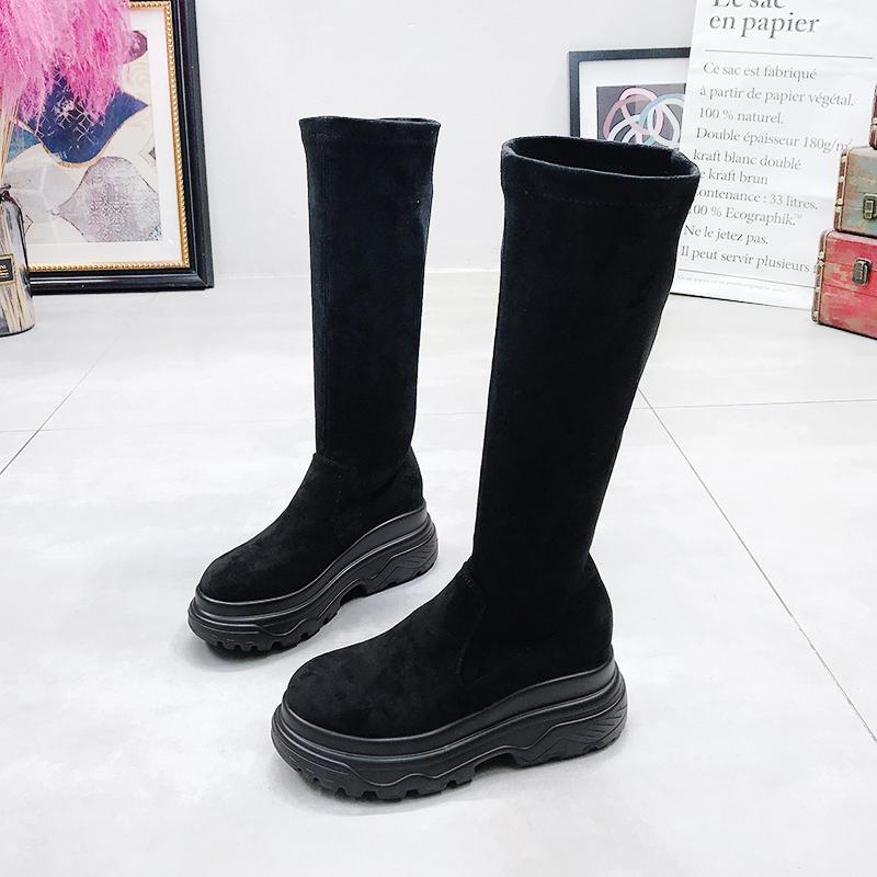 Women's Platform Boots Fashion Stretch Fabric High Boots For Woman Spring Autumn Shoes Female Knee-High Boot Woman Boot Shoes