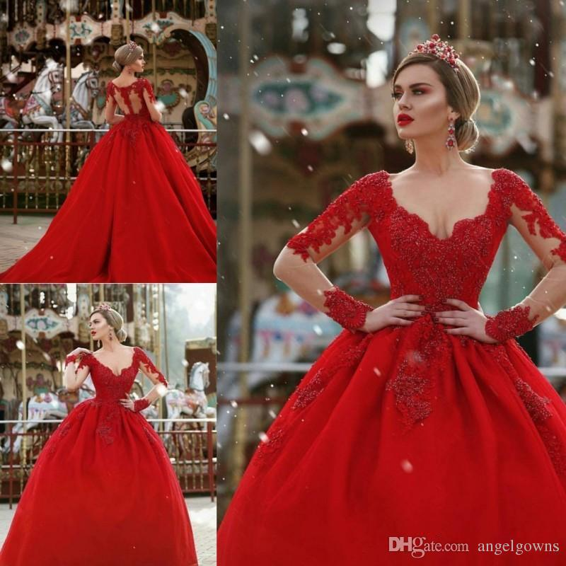 Vintage Red Ball Gown Prom Dresses Major Beaded Lace Sheer Long Sleeves Sexy  Illusion Back Queen Princess Quinceanera Dress Evening Gowns Prom Dresses  For ... 433d56216449
