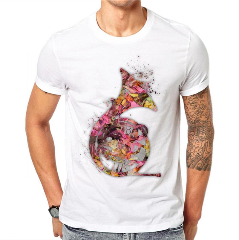 100% Cotton Men T Shirt Fashion Musical Instruments Sark Design Tops 3d Floral Flowers Printed T-shirts Tee Short Sleeve