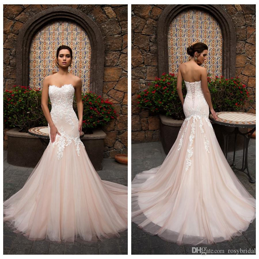 Sexy Pink Mermaid Wedding Dresses Sweetheart Collar Tulle Applique Bridal Dresses Garden Style Wedding Gowns Sweep Train