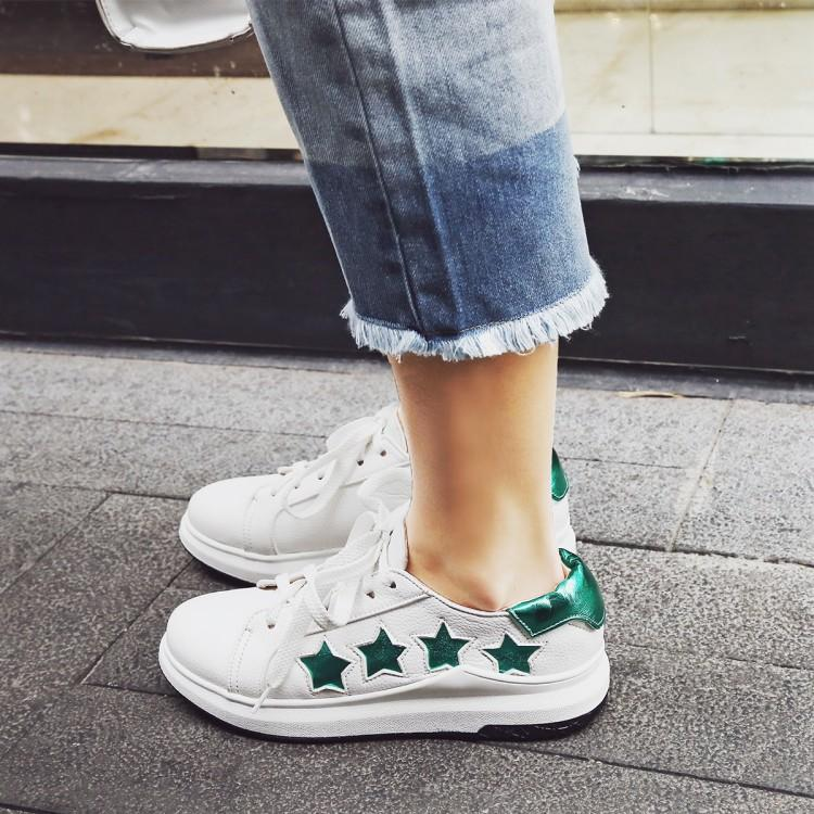 Casual Shoes PU Lace Lazy Leisure star fashion Breathable Small white shoes big 40 41 42 Woman EUR Size 34 43