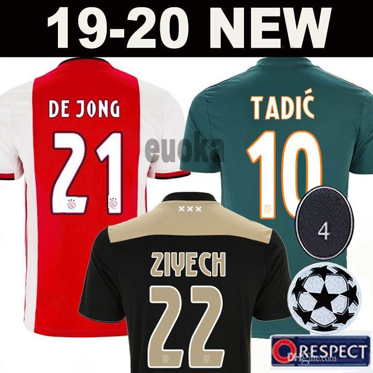 6d2594ddc Acquista 2019 AJAX Home Soccer Jerseys # 21 DE JONG Via Maglia Ajax 19/20 # 10  TADIC # 4 DE LIGT # 22 ZIYECH Uomo Uniformi Da Calcio A $13.33 Dal Euoka ...
