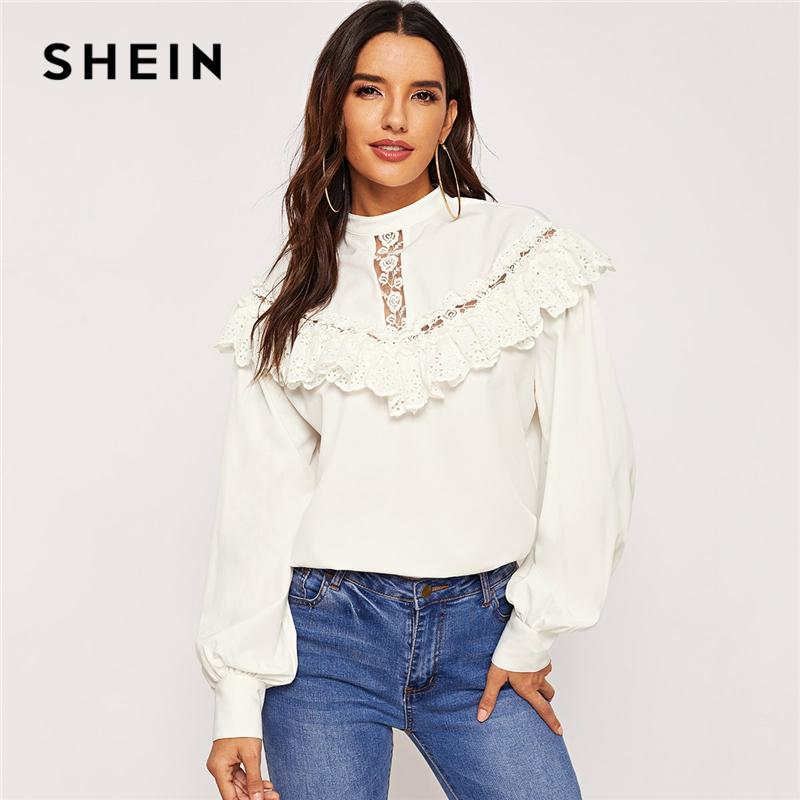 beb0e82ff3b7a9 2019 SHEIN White Lace Ruffle Detail Solid Top Stand Collar Long Sleeve  Plain 2019 Women Spring Minimalist Elegant Workwear Blouses From Xiatian4,  ...