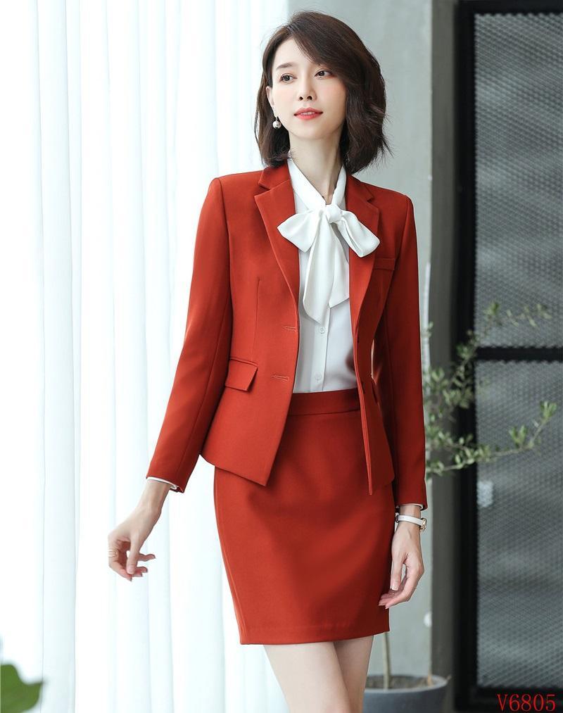 c01cb5417b66 Compre Tela De Alta Calidad Formal De Mujer Trajes De Falda Blazer Y  Conjuntos De Chaqueta De Damas Trajes De Negocios Uniformes De Oficina  Diseños Estilos ...