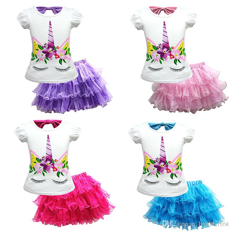 fa170a4a7156 2019 Girls Skirt Set Unicorn Top T Shirt Rainbow Lace Tulle Skirt Outfits  Dress Set Clothes Girls Summer Clothes Set TC181127W From Home_first, ...