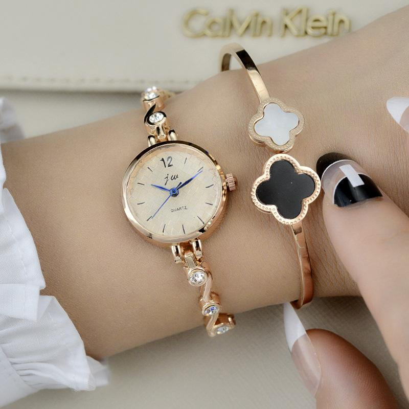 Fashion Jw Top  Small Dial Rose Gold Silver Women Wrist Chain Bracelet Watches With Elegant Stone Quartz Dress Wristwatches