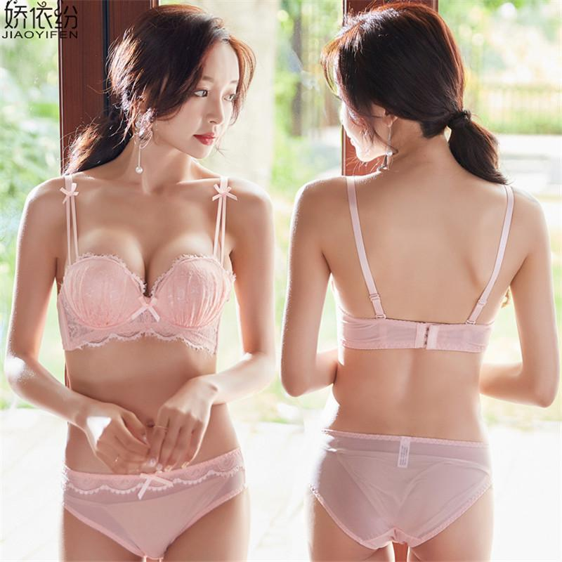 c5589223e Sexy Women Underwear Lovely Girl Lace Bra Set Embroidery Lingerie Deep V Push  Up Bra For Women and Transparent Sexy Panty Sets