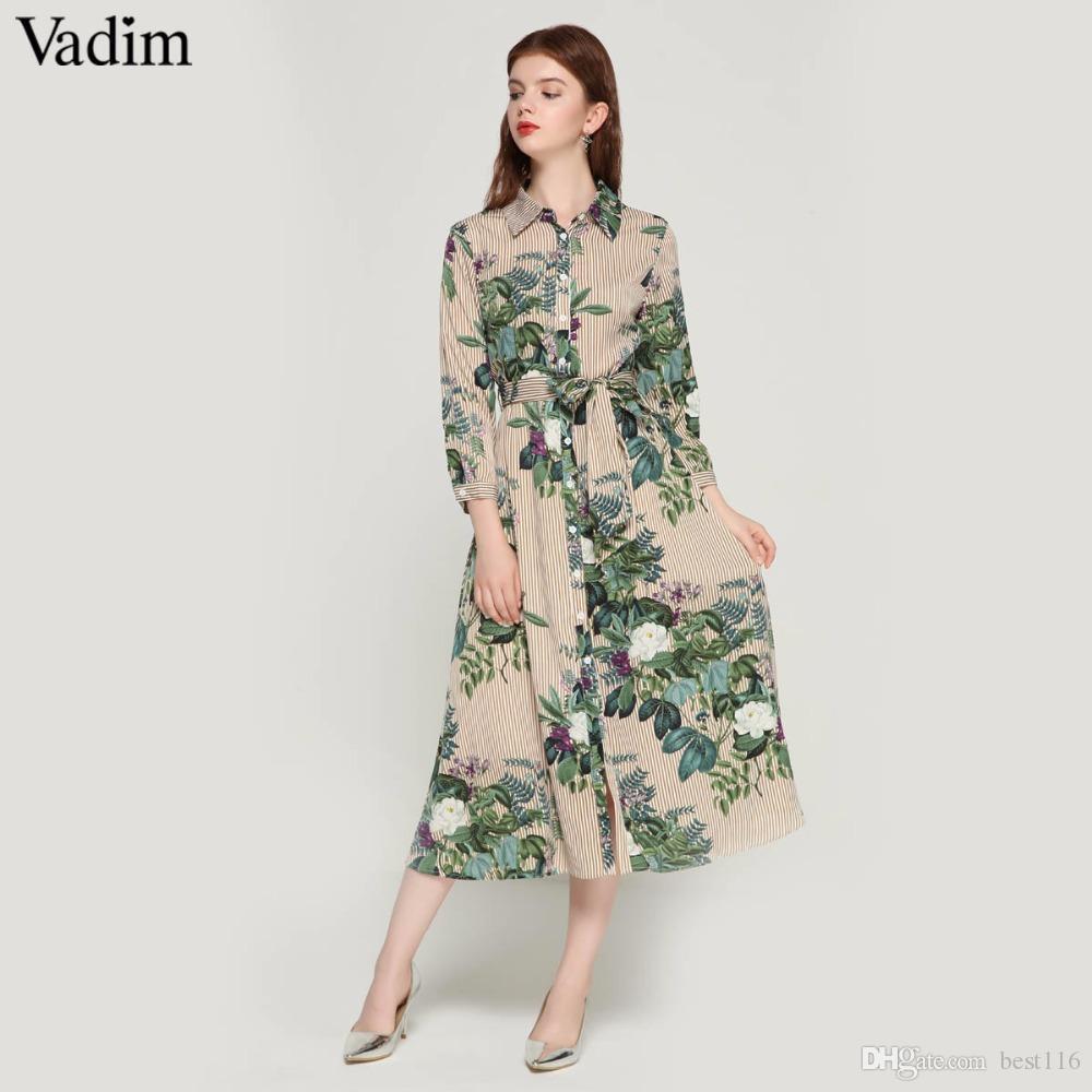 8aa959666471e Satın Al Kadınlar Vintage Çiçek Çizgili Midi Elbise Papyon Sashes ...