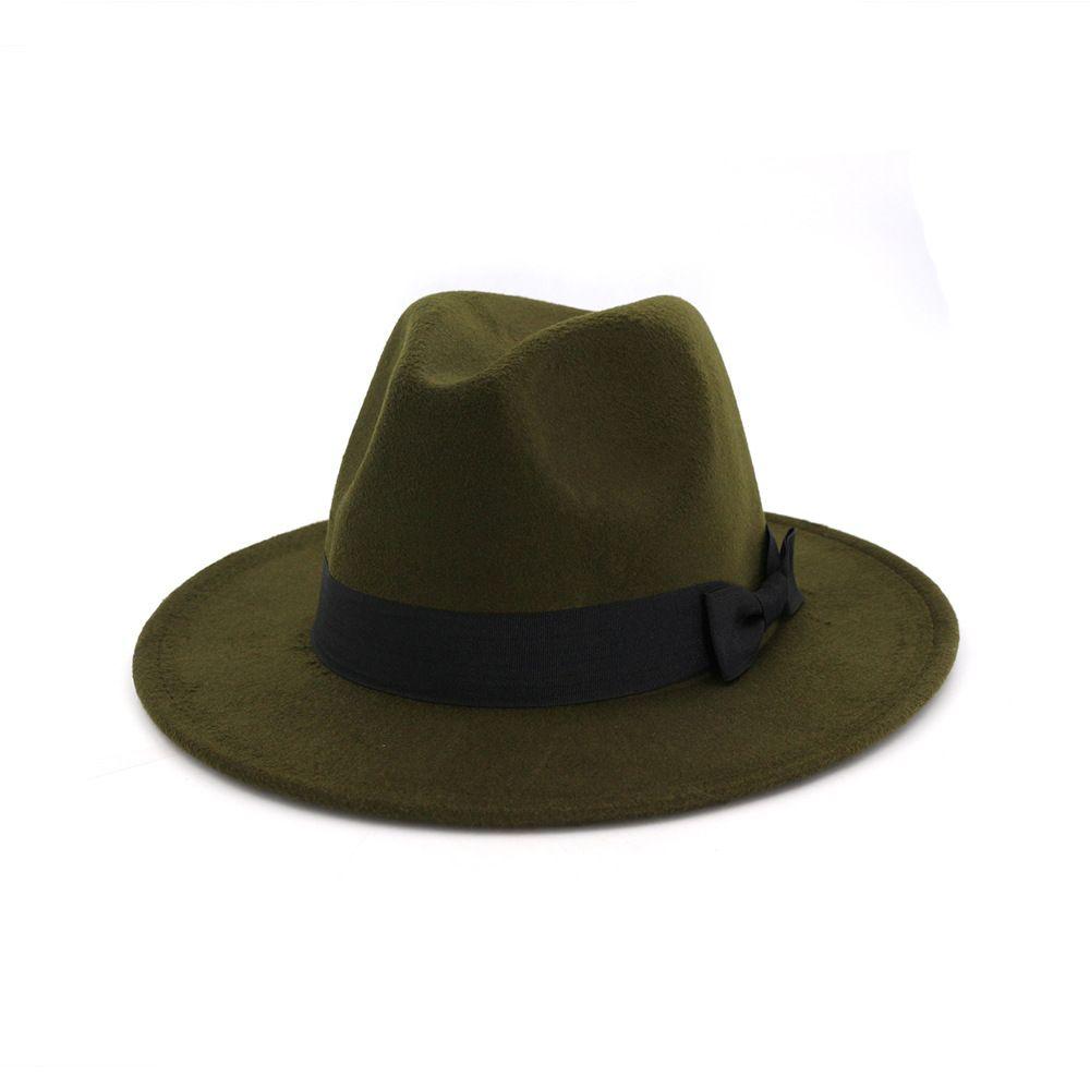 040829685 Army Green Brim Fedora Men Women Vintage Jazz Hats Fashion Stars Wool felt  hat Unisex Black Felt Bowler Trilby