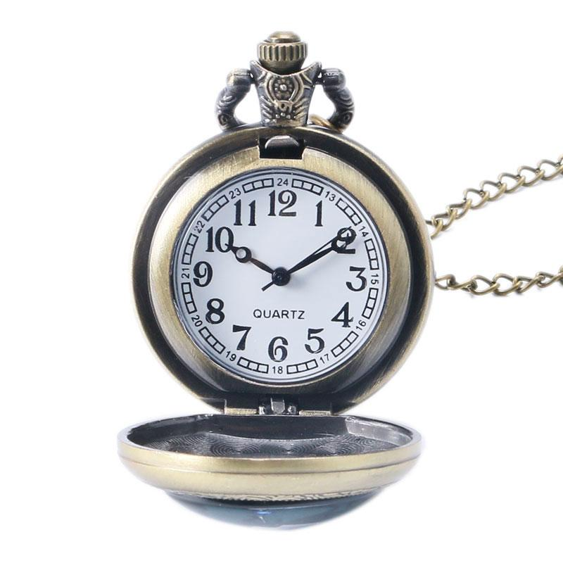 Hot Sale Cool Rotating Spider Man Theme Quartz Fob Pocket Watch Golden Round Case With Necklace Chain For Men Women Gift Watches