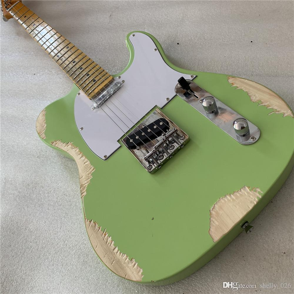Free shipping custom shop TELE 6 Strings Maple fingerboard Electric Guitar green color elecaster guitaar relics by hands guitarra guitars