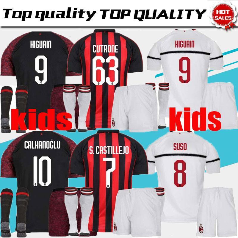 2019 2018 2019 AC Milan Kids Soccer Jersey SUSO 9 HIGUAIN 10 CALHANOGLU  BONAVENTURA Custom Home Away Third Kids Football Shirts From  Jerseys suppliers cfa89e859