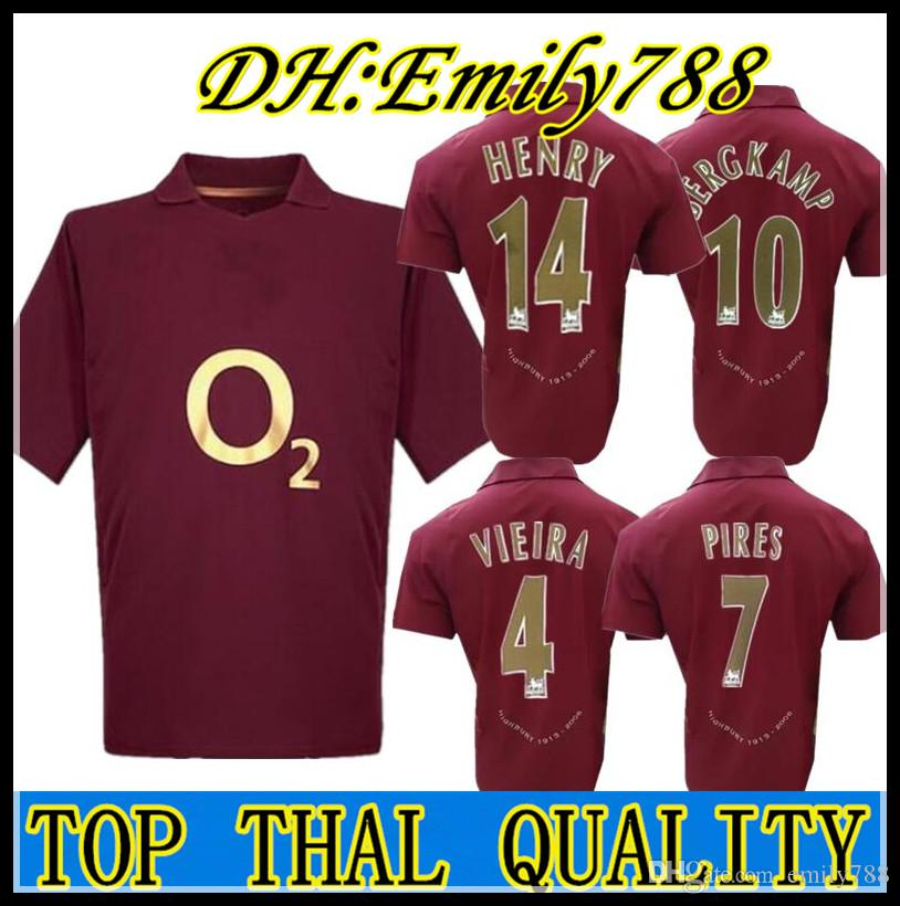 212a69ddef Compre Retro Gunners 2005/06 Henry Van Persie Bergkamp Camisas De Futebol  Final Do Vintage Clássico Futbol Camisa Camisas De Futebol Camiseta Kit  Maillot De ...
