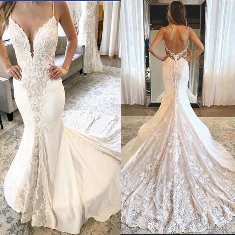 e9f8bcc9a7b Sexy White Ivory Mermaid Wedding Dresses Spaghetti Straps Lace Appliques  Bridal Gowns 2019 New Deep V Neck Backless Custom Vestido De Noiva Wedding  Dresses ...