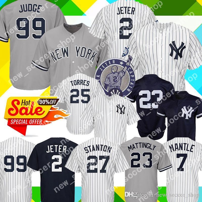 meet dcd4e 6dc07 New York 99 Aaron Judge Yankees Jersey 25 Gleyber Torres 2 Derek Jeter 27  Giancarlo Stanton 24 Sanchez 3 Ruth 23 Mattingly Mantle