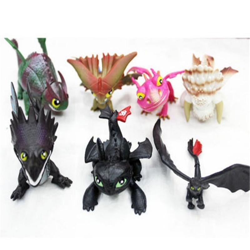 7 piezas de juguetes de peluche furia de la noche la luz de la furia del dragón muñeca de la felpa del dragón desdentado conjunto figura de acción Juguetes regalo de los niños