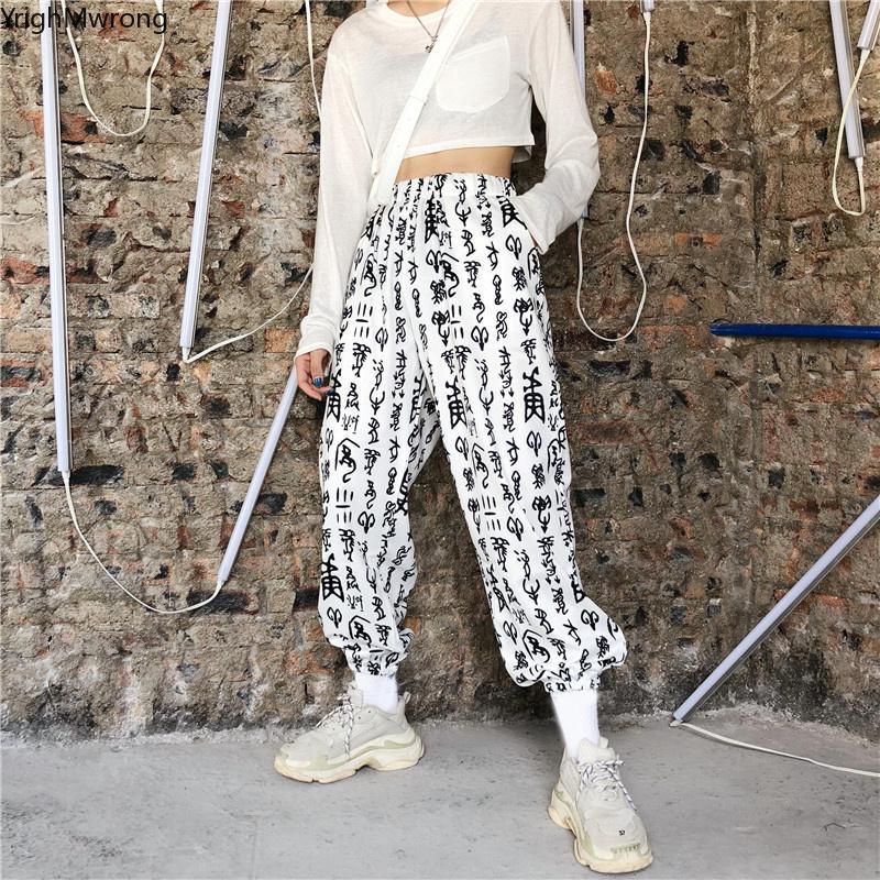 33ca8137883d Punk coreano letra graffiti gótico de cintura alta Hiphop Harem sueltos  Jogger Streetwear cargo pantalón hombre mujer moda vintage verano Y190430