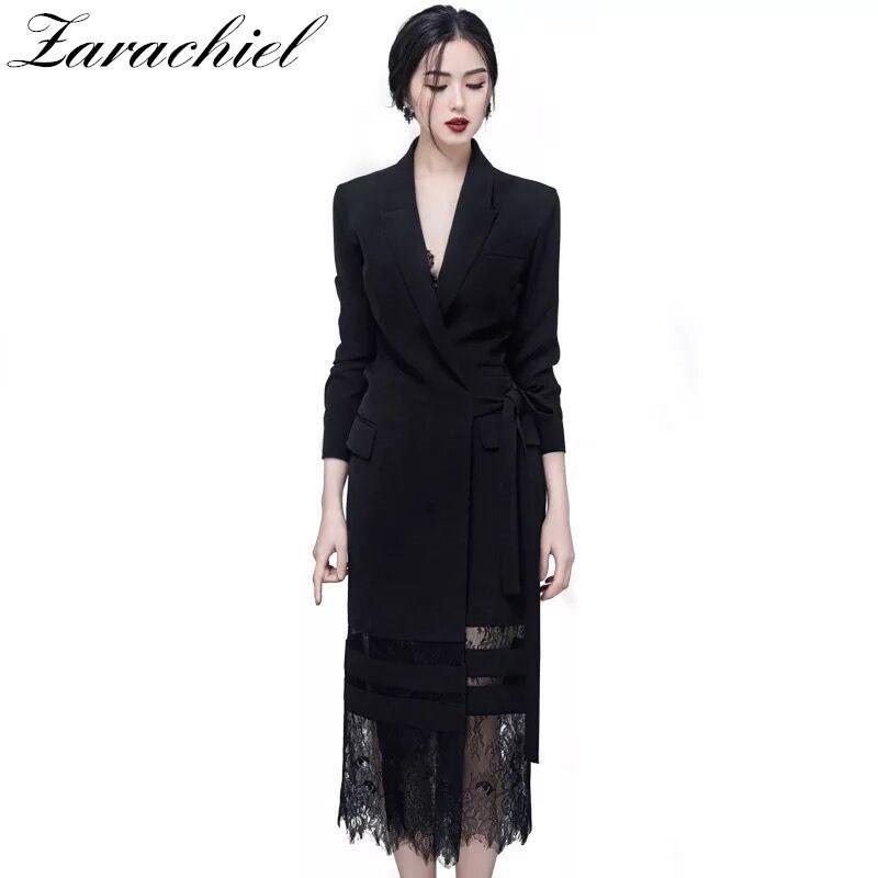 1e41d167e6fd 2018 Autumn Women's Long Sleeve Notched Lace Stitching Blazer Dress Suit Long  Jacket Office Lady Adjustable Belted Wrap Dress D18111206