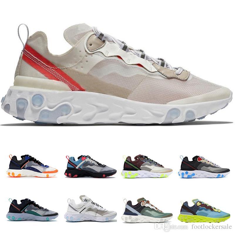 sneakers for cheap 8f335 eb695 Epic React Element 87 Fly Knit Zapatos Para Correr Para Hombres Mujeres  Triple Blanco Negro Azul Diseñador Undercover X Zapatillas De Deporte  Transpirables ...