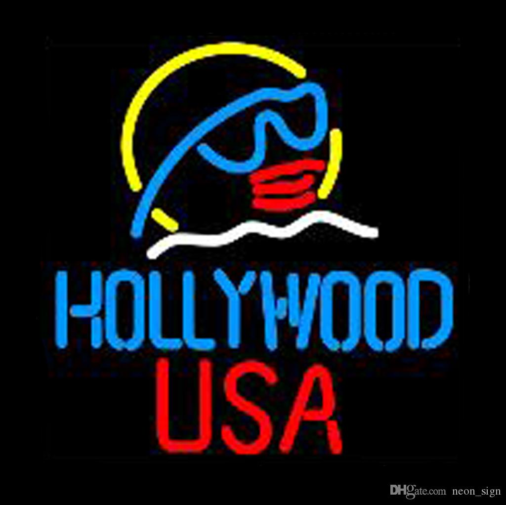 "Hollywood Usa Star Neon Sign Handmade Real Glass Tube Bar KTV Pub Store Hotel Cinema Decoration Film Advertise Display Neon Signs 16""X16"""