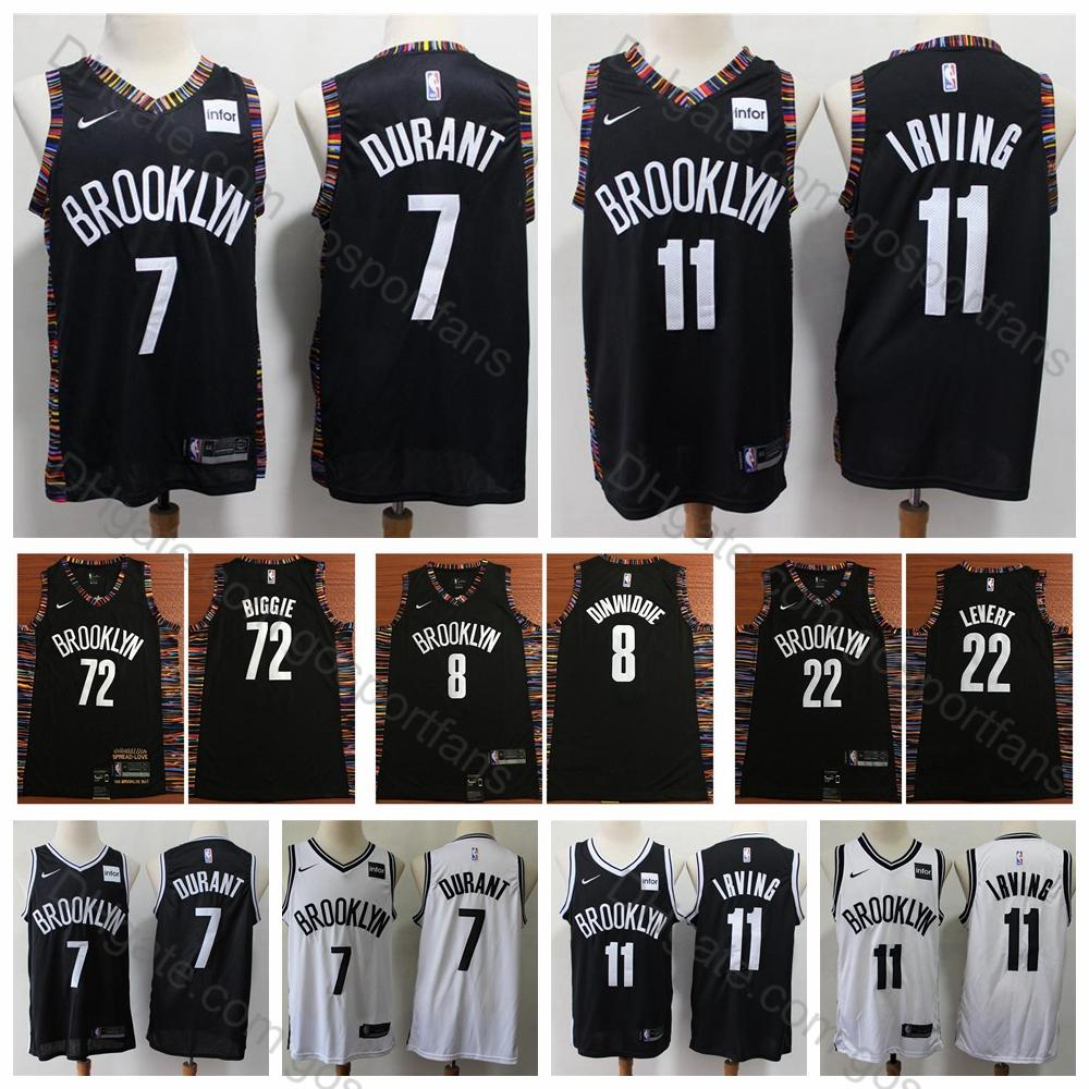 low priced 036f6 f3488 2019 Nets Kevin Durant #7 Kyrie Irving #11 Brooklyn City Basketball Jerseys  Caris LeVert 72 Biggie Smalls Spencer Dinwiddie Stitched Shirts