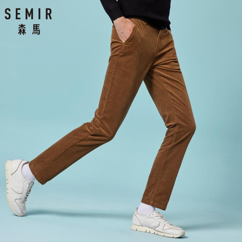 SEMIR Mens Slim Fit Corduroy Pants Men's Corduroy Straight Leg Pants Long Trousers with Side Pockets in Retro Style for Winter