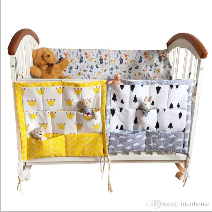 Storage Bags Baby Cot Bed Hanging Bag Muslin Cotton Crib Organizer Toys Diaper Pocket For Crib Bedding Set Bed Bumper Container Holder B5811
