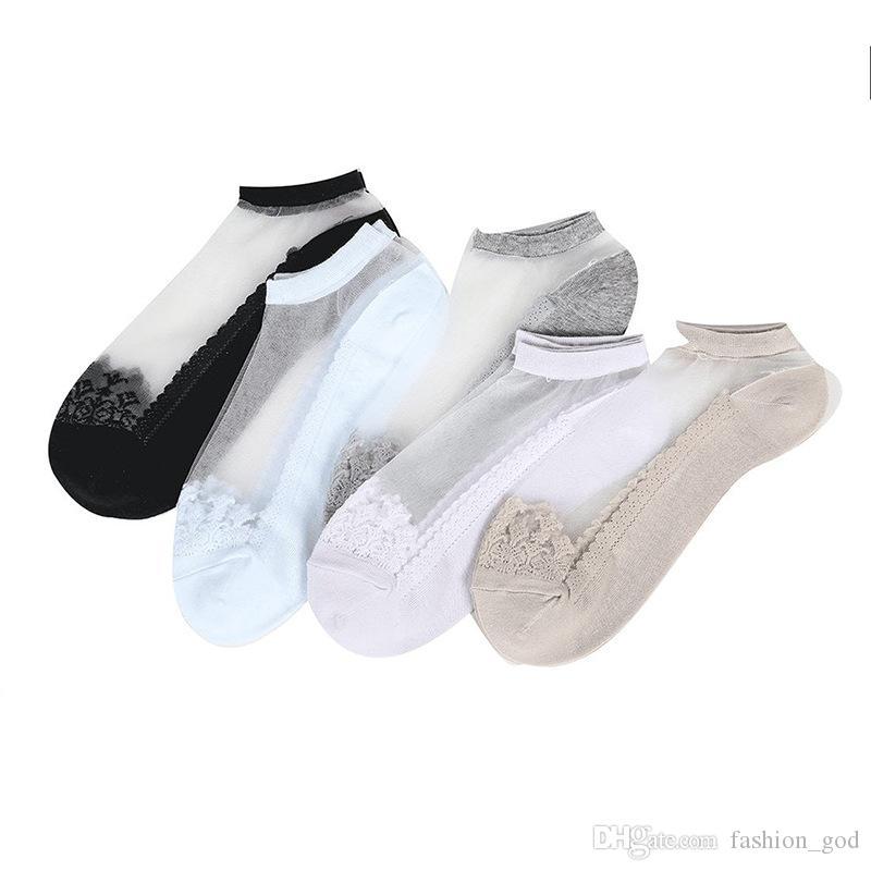 Antiskid Transparent Silk Crystal Low Cut Cute Short Sock Lace Socks Cotton