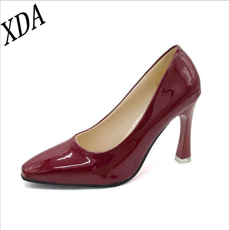 Dress Shoes Xda 2019 Women Pointed Toe Pumps Patent Leather Dress High Heels Boat Wedding Black Wine Red Silver Red W40