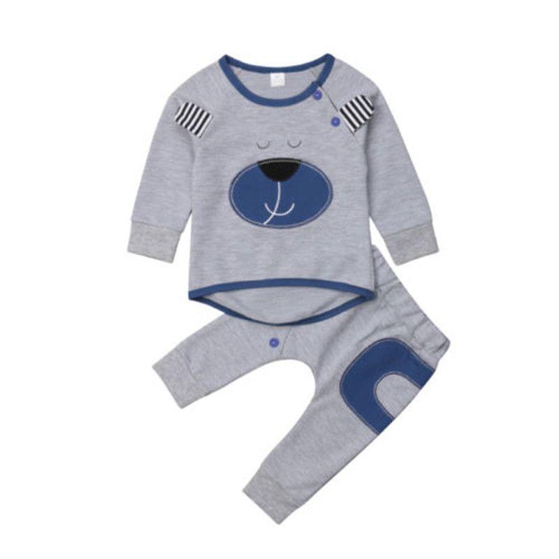 ffd296ab5 Newborn Baby Boy Cartoon Bear Long Sleeve T-Shirt Tops Pants ...