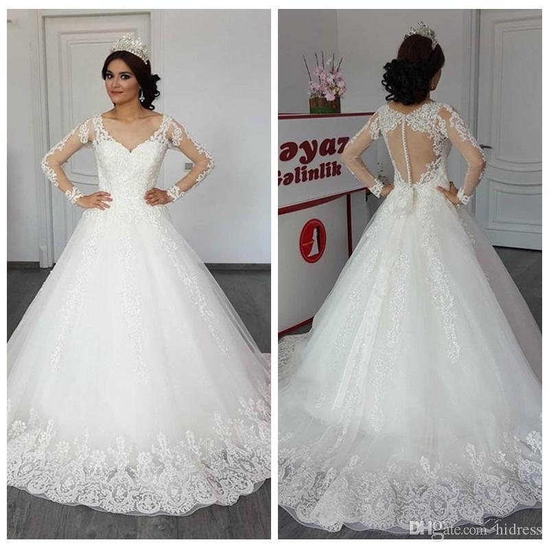 77472754bf0a Discount Latest A Line Wedding Dresses V Neck Long Sleeve Lace Appliques  Illusion Covered Button Back Bridal Dresses Fashion Wedding Gowns Red And  White ...