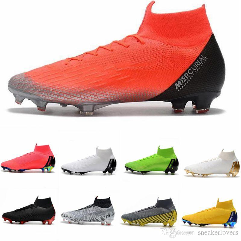 size 40 d6682 e5dc3 2019 Mercurial Superfly VI 360 Elite FG KJ 6 XII 12 CR7 Ronaldo Neymar Mens  Women High Soccer Shoes Football Boots Cleats 39-45
