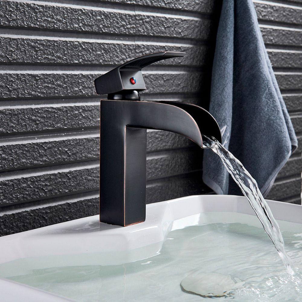 Deck Montiert Badezimmer Becken Waschbecken Wasserhahn Schwarz Bronze  Wasserfall Waschbecken Mischbatterie Einlochmontage Kalte Heiße  Mischbatterie