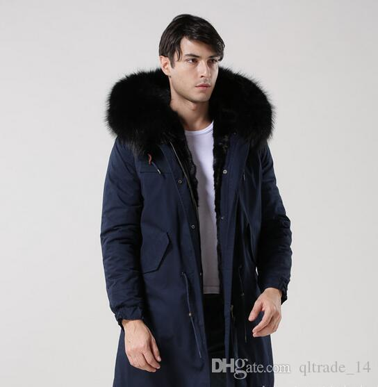 Meifeng brand Men warm coats black raccoon fur trim hoody black rabbit fur lining navy blue long parkas with ykk zipper