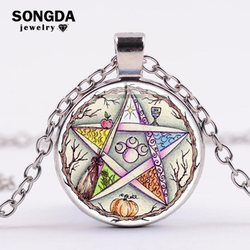 SONGDA Esoteric Pentagram Wiccan Pendant Necklace Tree of Life Wicca Star Vintage Photo Glass Dome Necklace Women Gift Talisman